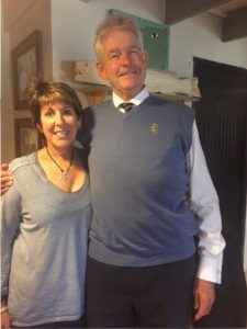 Rector, Neil Crawford with the mum of an Old Grey, Alison Bryant
